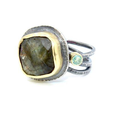 handmade gold silver labradorite beryl ring