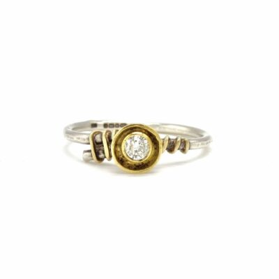 diamond 18ct gold silver ring
