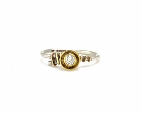 diamond 18ct gold silver ring