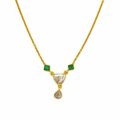 18ct gold diamond emerald necklace