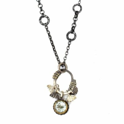 green amethyst handmade silver necklace